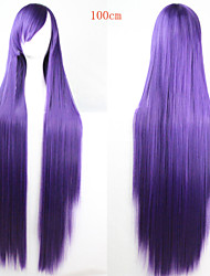 Women Synthetic Wig Straight Yaki Purple Cosplay Wig Costume Wig
