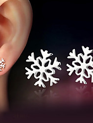 925 Sterling Silver Snowflake Earrings For Women Korean Style Stud Earrings Love Girlfriend Birthday New Year Gift