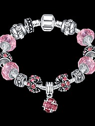 cheap -Lucky Doll Vintage  Silver Plated Gemstone & Crystal / Cubic Zirconia Link/Chain / Beaded / Charm Bracelet Christmas Gifts