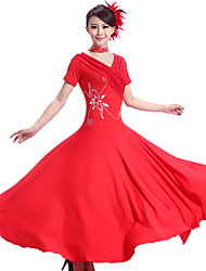 cheap -Ballroom Dance Dresses Women's Performance Spandex / Chinlon Draping Dress / Neckwear / Modern Dance