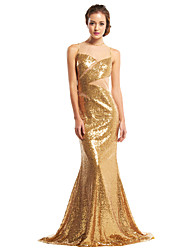 cheap -Mermaid / Trumpet Illusion Neckline Sweep / Brush Train Sequined Prom / Formal Evening Dress with Sequin by TS Couture®