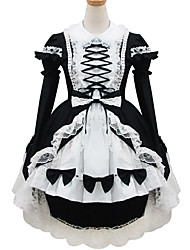 One-Piece/Dress Maid Suits Sweet Lolita Classic/Traditional Lolita Lolita Cosplay Lolita Dress Black Color Block Long Sleeve Short Length