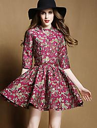 baratos -Mulheres Vintage Evasê Vestido Floral Acima do Joelho