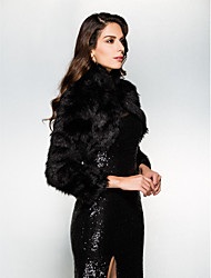 Wedding  Wraps Shrugs Long Sleeve Faux Fur Black Wedding Party/Evening High Neck Open Front