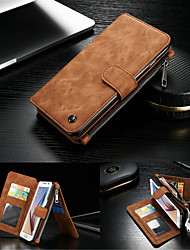 cheap -For Samsung Galaxy S7 edge S7 Case Wallet Genuine Leather Solid Color Hard Case Cover S6 edge plus S6 edge S6 S5
