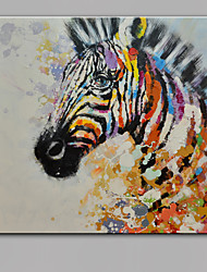 cheap -Single Modern Abstract Pure Hand Draw Ready To Hang Decorative Oil Painting Zebra