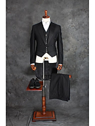 Suits Tailored Fit Notch Double Breasted Four-buttons Cotton Blend Solid 2 Pieces Black