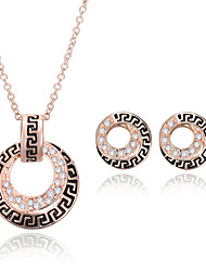 cheap -Women's Rhinestone Wedding Party Rose Gold 1 Pair of Earrings Necklaces
