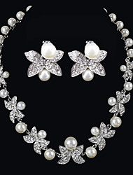 cheap -Elegant Design Alloy With Rhinestone And Pearls Wedding/Special Occaision / Party Jewelry Set.