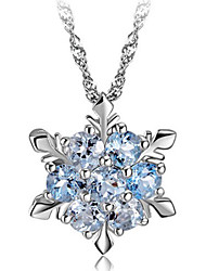 cheap -Women's Snowflake Fashion Pendant Necklace Silver Synthetic Gemstones Sterling Silver Crystal Pendant Necklace , Party Daily Casual