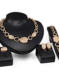 Women's Jewelry Set Luxury Punk Wedding Party Daily Imitation Diamond Alloy Rings 1 Necklace 1 Pair of Earrings 1 Bracelet