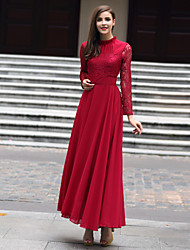 cheap -Women's Patchwork / Lace Red Dress , Lace / Party Stand Long Sleeve