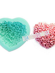 cheap -Valentine Rose Flower Heart Shape DIY Silicone Chocolate Pudding Sugar Cake Mold Color Random