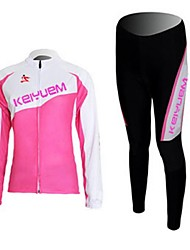 baratos -KEIYUEM Mulheres Manga Longa Calça com Camisa para Ciclismo - Preto Moto Meia-calça Conjuntos de Roupas, Prova-de-Água, Secagem Rápida,
