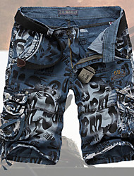 cheap -Men's Military Loose Shorts Jeans Relaxed Pants Print