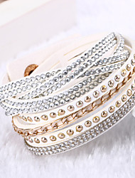cheap -Leather Bracelets Multilayer Wrap Bracelet Rhinestone Bracelets Fashion Jewelry  for Bestfriend chain Bracelet 1 pc Lureme® Christmas Gifts