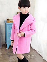 Girls' Jacket & Coat,Wool Winter Spring Fall Long Sleeve Dresswear Gray Red Pink