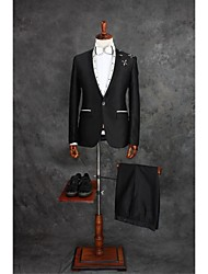 Suits Tailored Fit Slim Notch Single Breasted One-button Cotton Blend Gingham 2 Pieces Black Straight Flapped Single (One) BlackSingle