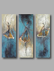 cheap -Oil Painting Hand Painted - Abstract / Abstract Portrait Modern Canvas / Stretched Canvas