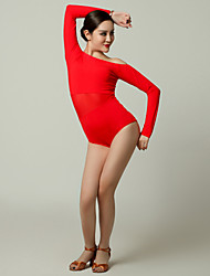 cheap -Latin Dance Leotards Women's Performance Tulle Viscose Ruffles Long Sleeves Leotard / Onesie