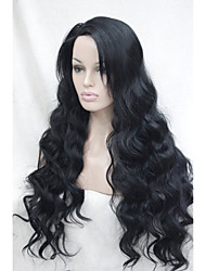 cheap -Synthetic Wig Wavy Synthetic Hair Black Wig Lace Front Wig