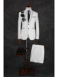 cheap -Ivory Pattern Tailored Fit Cotton Blend Suit - Shawl Collar Single Breasted One-button / Suits