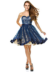A-Line Sweetheart Knee Length Tulle Cocktail Party Prom Company Party Dress with Draping by TS Couture®