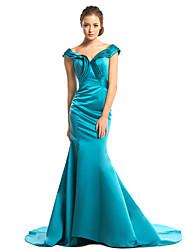 Sereia Decote V Cauda Corte Cetim Evento Formal Vestido com Babados em Cascata de TS Couture®