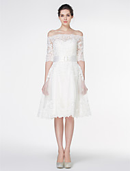 cheap -A-Line Off-the-shoulder Knee Length Lace Wedding Dress with Lace by LAN TING BRIDE®
