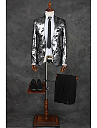 cheap -Gray Patterns Tailored Fit Polyester Suit - Mandarin Collar Single Breasted One-button