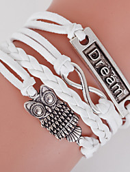 cheap -Retro Style Multilayer White Owl Animal Heart Love Weave Wrap Bracelet with Rivet