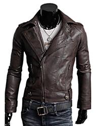 economico -top da uomo in ecopelle, cintura non inclusa, manica lunga con revers