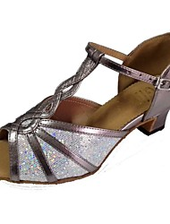 cheap -Women's Latin Salsa Sparkling Glitter Leatherette Sandal Indoor Performance Professional Beginner Practice Customized Heel Multi Color