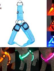 baratos -Gato Cachorro Arreios Luzes LED Retratável Reflector Têxtil Vermelho Verde Azul Rosa claro Arco-Íris
