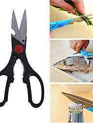 8in Multi-functional Stainless Steel Poultry Chicken Serrated Scissors Kitchen Shears Opener(Random Color)