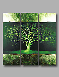 "Ready to Hang Stretched Hand-Painted Oil Painting Canvas Three Panels 36""x36"" Wall Art Modern Abstract Green"