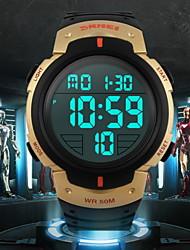 Недорогие -SKMEI Мужской Спортивные часы Наручные часы LCD Календарь Секундомер Защита от влаги тревога Спортивные часы Цифровой Pезина Группа Черный