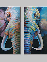 cheap -Hand-Painted Pop Art Square, Modern Canvas Oil Painting Home Decoration Two Panels