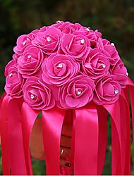 economico -Bouquet sposa Tondo Rose Bouquet Matrimonio Raso Satin elastico 22cm