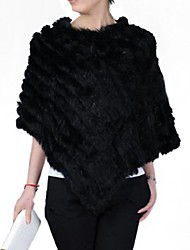 cheap -Women's Real Genuine Knitted Rabbit Fur Stole Poncho Cape