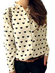 Damen Leopard Einfach Lässig/Alltäglich Hemd,Hemdkragen Alle Saisons Langarm Weiß Polyester Dünn