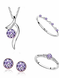 cheap -Women's Cross Jewelry Set Rings / Earrings / Necklace - Purple / Red / Pink For Daily / Casual