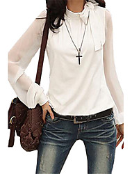 cheap -Women's Daily Casual Fall Blouse,Solid Standing Collar Long Sleeves Polyester Medium
