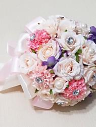 """baratos -Bouquets de Noiva Redondo Rosas Buquês Casamento Festa / noite Cetim Enfeite Strass 9.84""""(Aprox.25cm)"""