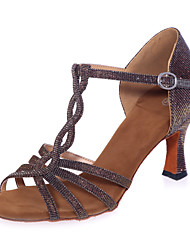 cheap -Women's Latin Shoes Sparkling Glitter Sandal Buckle Flared Heel Non Customizable Dance Shoes Brown / Blue / Gold / Indoor / Performance / Leather / Practice / Professional