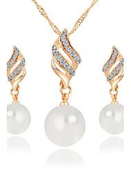 preiswerte -Niedlich / Party - Damen - Halskette / Ohrring (Rose Gold überzogen / Legierung / Zirkonia / Kunst-Perlen)