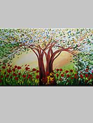 árvore de flor pintado à mão pintura a óleo abstrata moderna da paisagem na lona um painel pronto para pendurar