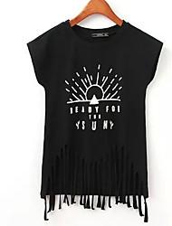 お買い得  -女性用 タッセル プリント Tシャツ ストリートファッション レタード