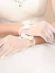 cheap -Nylon Wrist Length Glove Bridal Gloves Party/ Evening Gloves With Bowknot