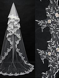 Uma Camada Borda com aplicação de Renda Véus de Noiva Véu Ruge Véu Capela Véu Catedral Com Apliques Tule